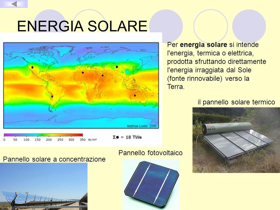 ENERGIA SOLARE Per energia solare si intende l'energia, termica o elettrica, prodotta sfruttando direttamente l'energia irraggiata dal Sole (fonte rin