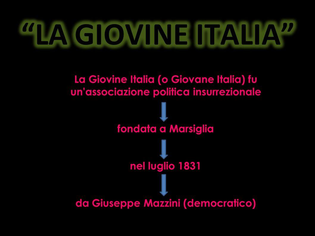 Mazzini fonda la Giovine Italia per educare il popolo allamor di patria e preparare la guerra patriottica che avrebbe dovuto cacciare gli Austriaci dalla penisola.