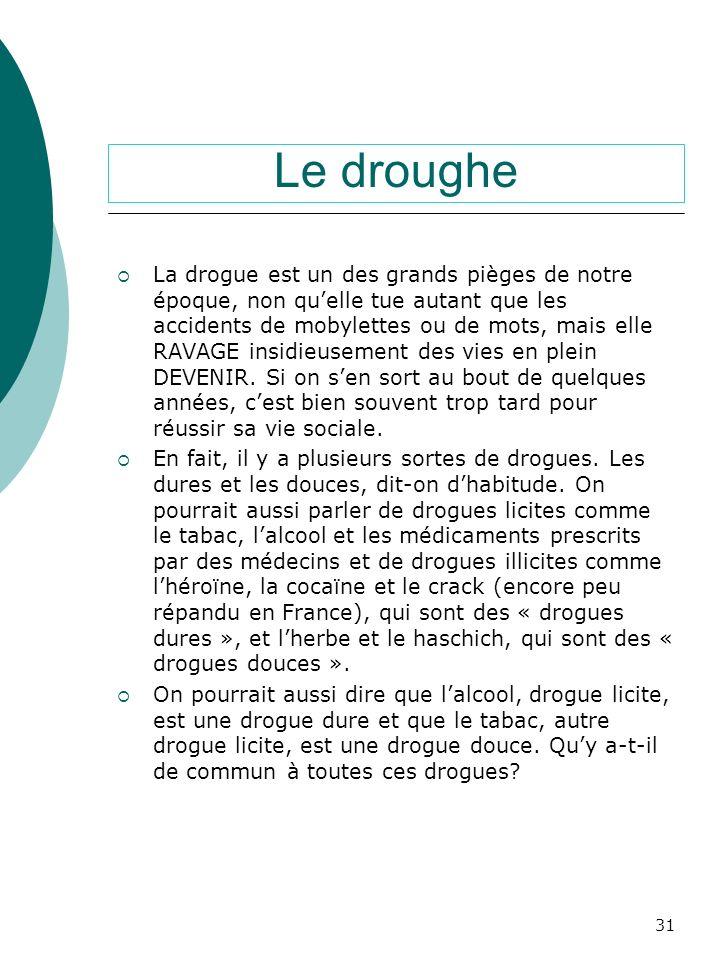 Francese: la drogue La drogue est un des grands pièges de notre époque. Il y a plusieurs sortes de drogues, les dures, les douces, les licites et les