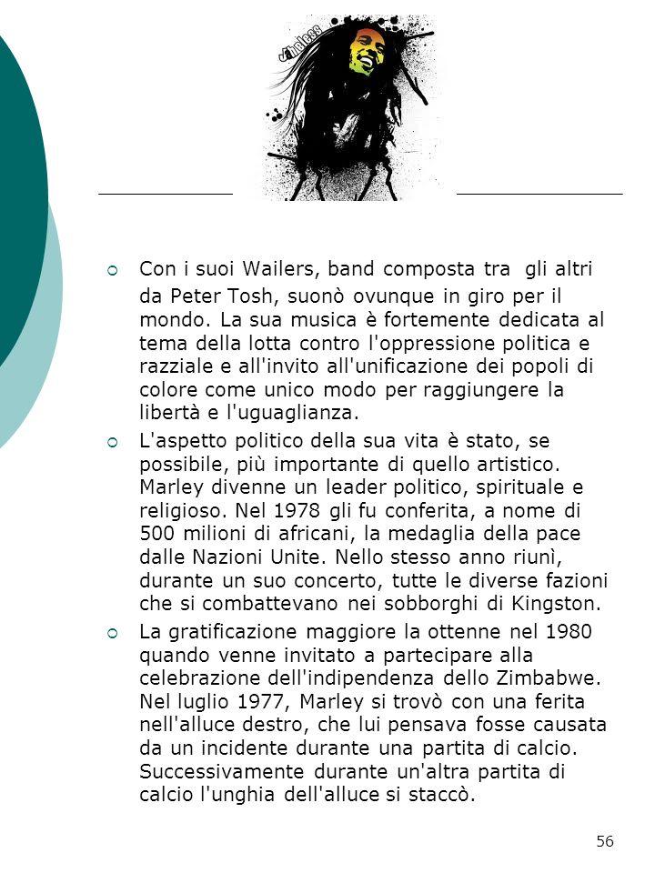 Bob Marley Robert Nesta Marley, detto Bob ( Nine Mile, 6 febbraio 1945 – Miami, 11 maggio 1981), è stato un cantautore, chitarrista e attivista giamai
