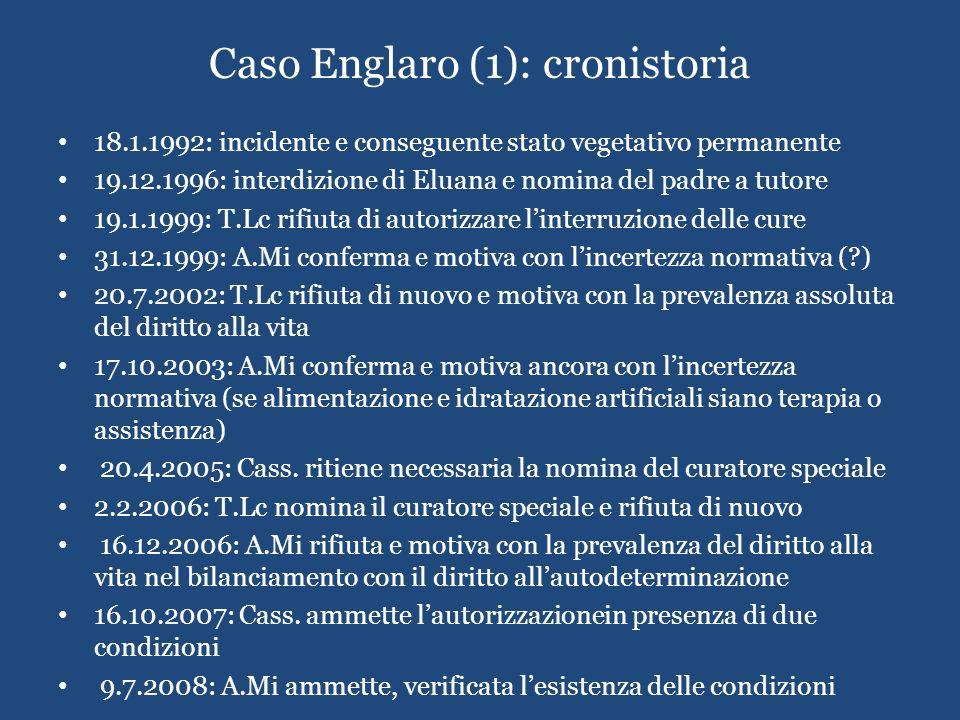 Caso Englaro (1): cronistoria 18.1.1992: incidente e conseguente stato vegetativo permanente 19.12.1996: interdizione di Eluana e nomina del padre a t