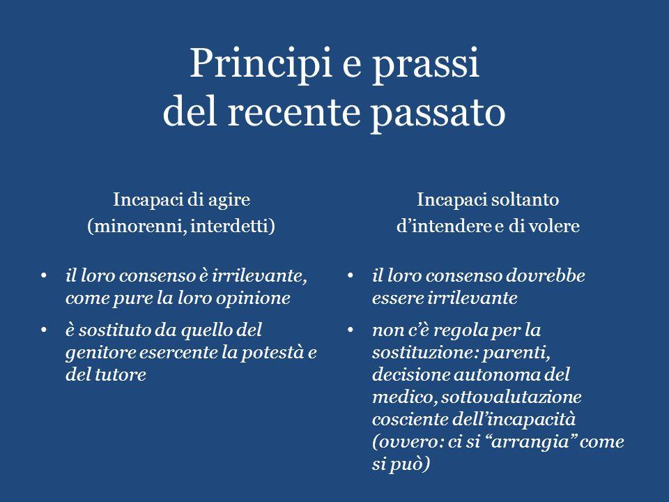 Principi e prassi del recente passato Incapaci di agire (minorenni, interdetti) il loro consenso è irrilevante, come pure la loro opinione è sostituto