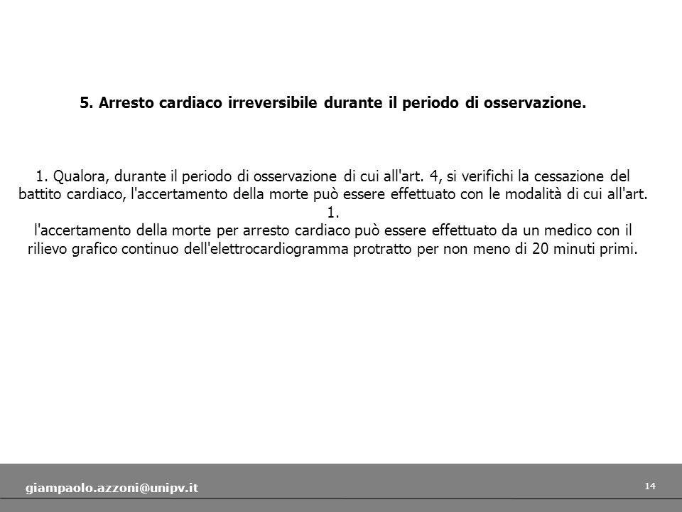 14 giampaolo.azzoni@unipv.it 5. Arresto cardiaco irreversibile durante il periodo di osservazione. 1. Qualora, durante il periodo di osservazione di c