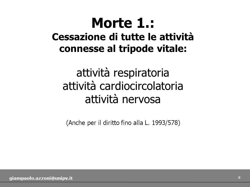 8 giampaolo.azzoni@unipv.it Morte 1.: Cessazione di tutte le attività connesse al tripode vitale: attività respiratoria attività cardiocircolatoria attività nervosa (Anche per il diritto fino alla L.