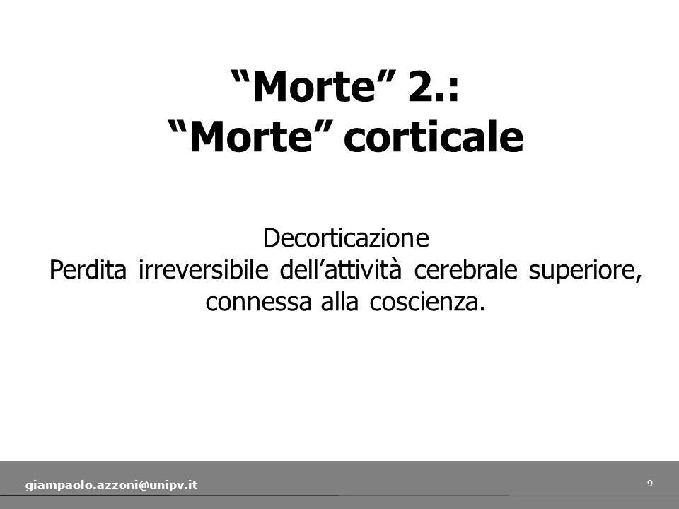 10 giampaolo.azzoni@unipv.it Morte 3.: Morte cerebrale (whole brain death) Decerebrazione.