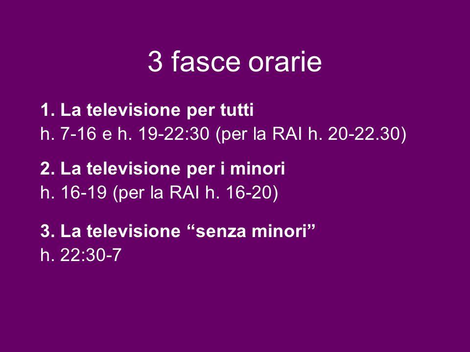 3 fasce orarie 2. La televisione per i minori h. 16-19 (per la RAI h. 16-20) 1. La televisione per tutti h. 7-16 e h. 19-22:30 (per la RAI h. 20-22.30