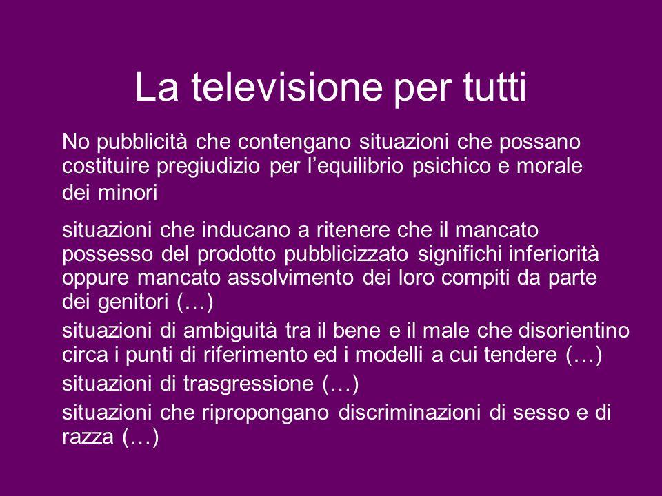 La televisione per tutti No pubblicità che contengano situazioni che possano costituire pregiudizio per lequilibrio psichico e morale dei minori situa