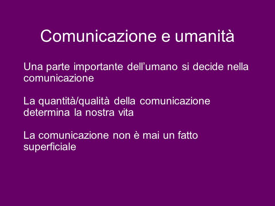 Comunicazione e umanità Una parte importante dellumano si decide nella comunicazione La quantità/qualità della comunicazione determina la nostra vita