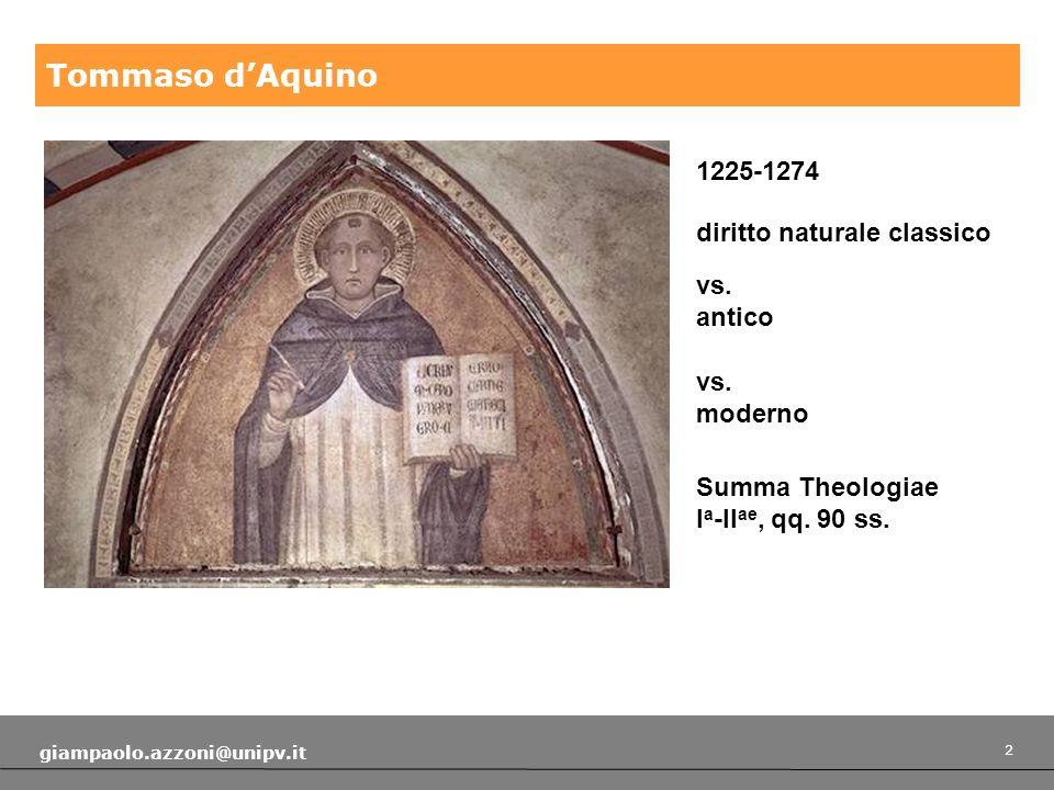 2 giampaolo.azzoni@unipv.it Tommaso dAquino 1225-1274 diritto naturale classico vs.