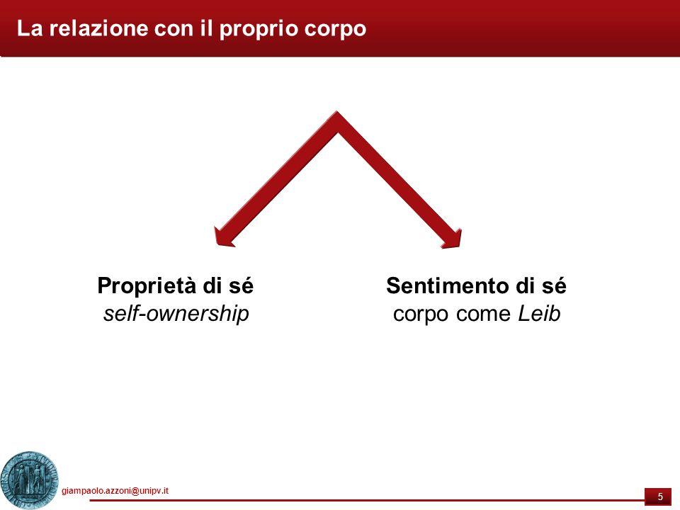 giampaolo.azzoni@unipv.it 5 5 La relazione con il proprio corpo Proprietà di sé self-ownership Sentimento di sé corpo come Leib