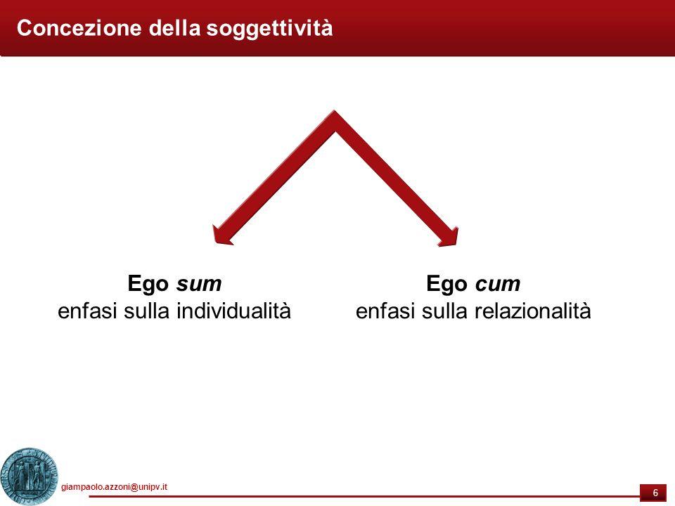 giampaolo.azzoni@unipv.it 6 6 Concezione della soggettività Ego sum enfasi sulla individualità Ego cum enfasi sulla relazionalità