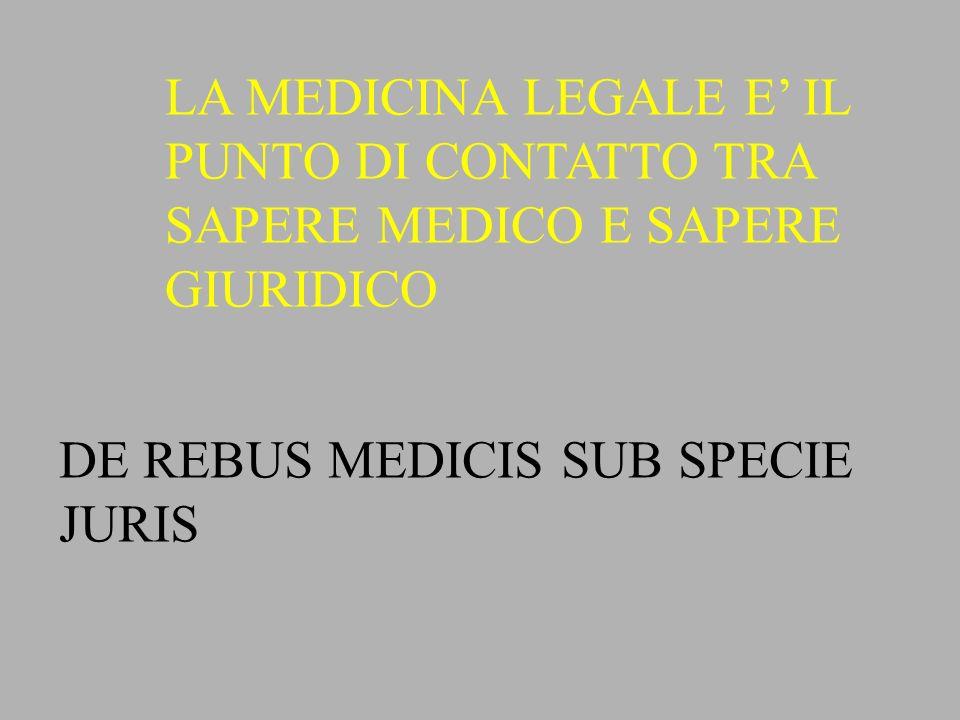 MEDICINA GIURIDICA: CONTRIBUISCE ALLA FORMAZIONE DI NUOVE LEGGI AFFINCHE LE NUOVE LEGGI SI ADEGUINO AI PROGRESSI DELLE SCIENZE BIOLOGICHE MEDICINA FORENSE :APPLICAZIONE PRATICA DELLE NOZIONI MEDICHE NECESSARIE A RISOLVERE CASI CONCRETI DELLA ATTIVITA GIUDIZIARIA