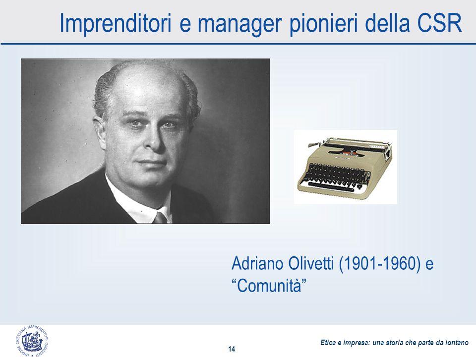 Etica e impresa: una storia che parte da lontano 14 Imprenditori e manager pionieri della CSR Adriano Olivetti (1901-1960) e Comunità