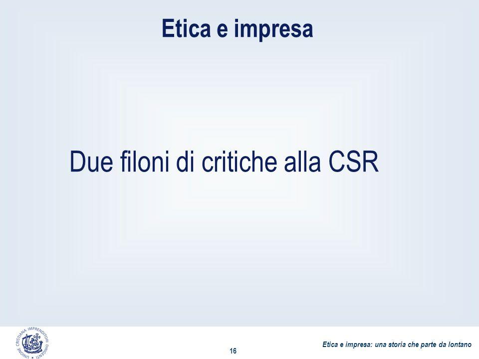 Etica e impresa: una storia che parte da lontano 16 Etica e impresa Due filoni di critiche alla CSR