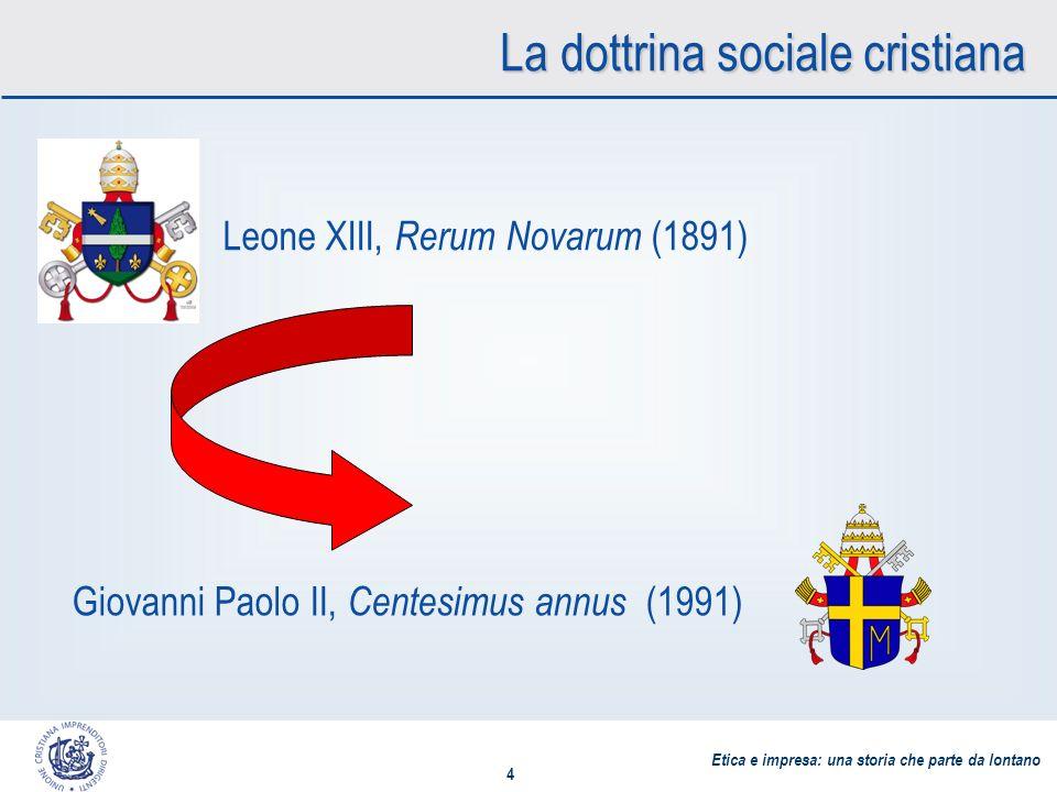 Etica e impresa: una storia che parte da lontano 4 La dottrina sociale cristiana Leone XIII, Rerum Novarum (1891) Giovanni Paolo II, Centesimus annus (1991)