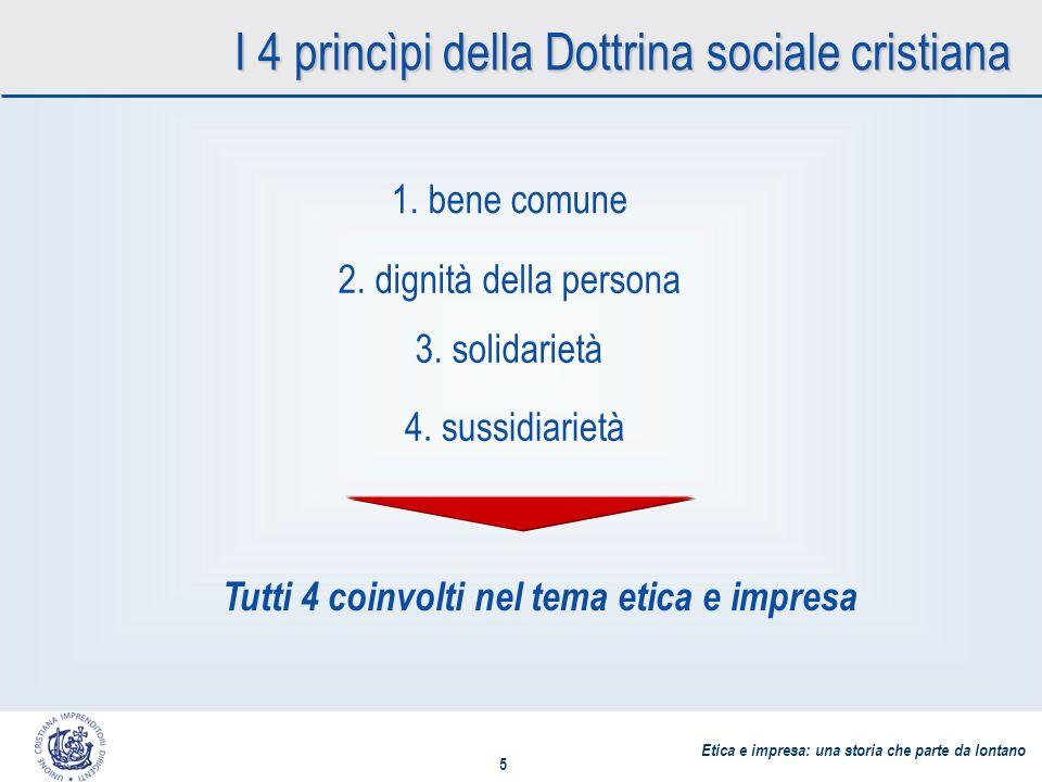 Etica e impresa: una storia che parte da lontano 5 I 4 princìpi della Dottrina sociale cristiana 1.