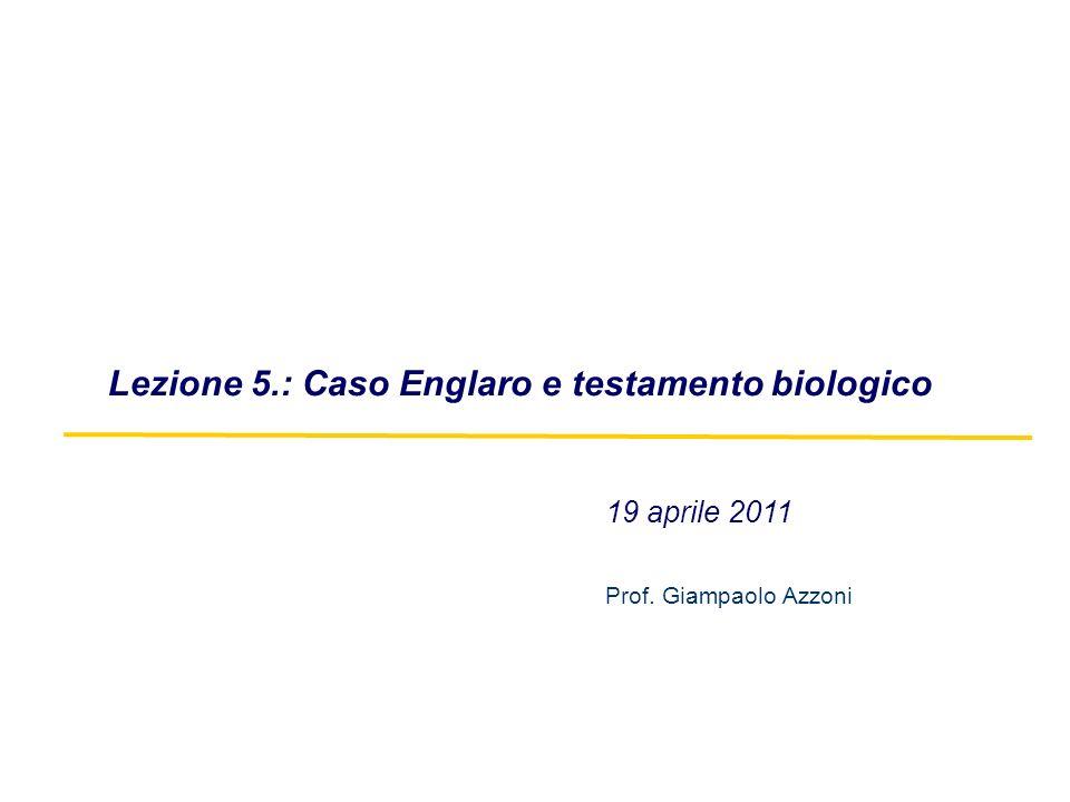 19 aprile 2011 Prof. Giampaolo Azzoni Lezione 5.: Caso Englaro e testamento biologico