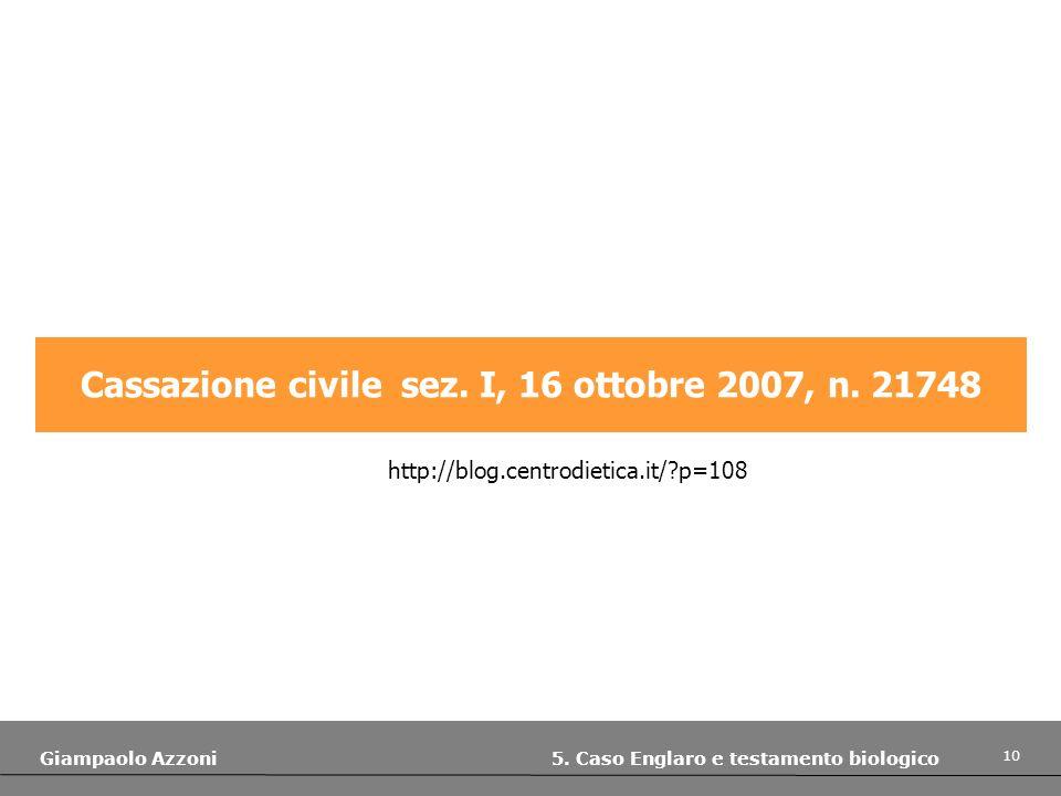 10 Giampaolo Azzoni 5. Caso Englaro e testamento biologico Cassazione civile sez. I, 16 ottobre 2007, n. 21748 http://blog.centrodietica.it/?p=108