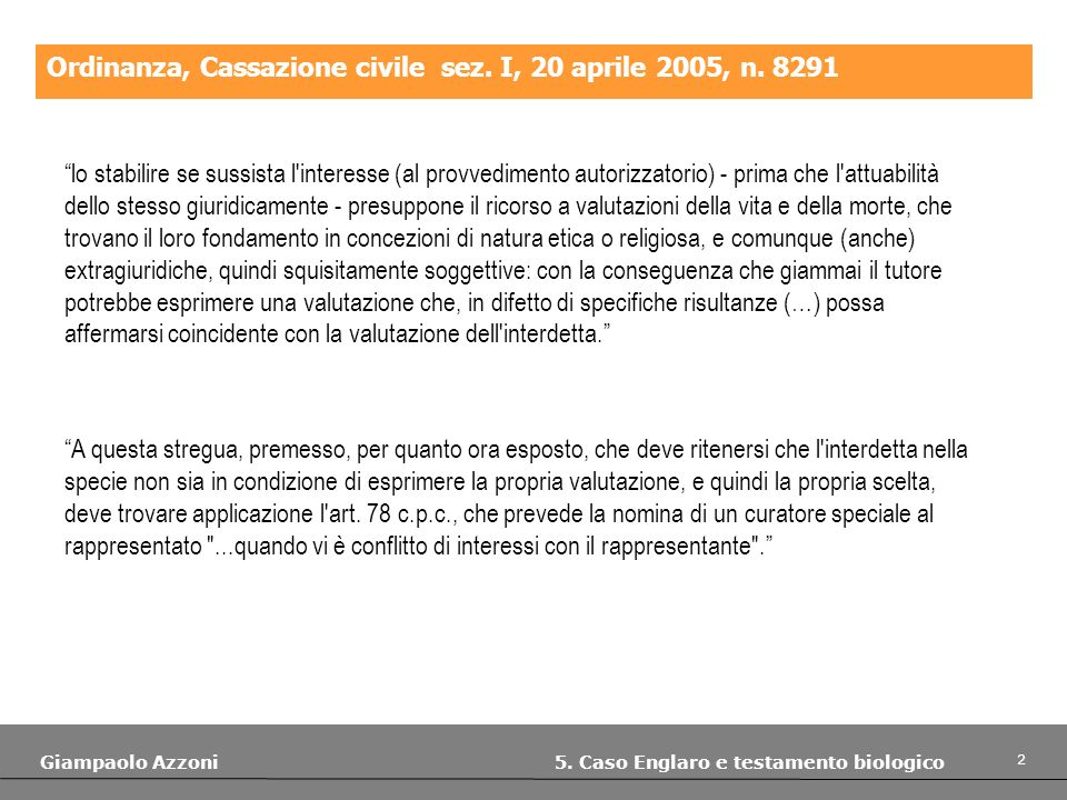 3 Giampaolo Azzoni 5.Caso Englaro e testamento biologico Ordinanza, Cassazione civile sez.