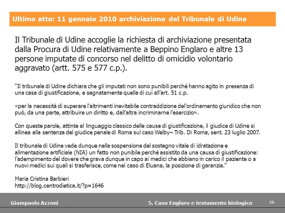 28 Giampaolo Azzoni 5. Caso Englaro e testamento biologico Ultimo atto: 11 gennaio 2010 archiviazione del Tribunale di Udine Il Tribunale di Udine acc
