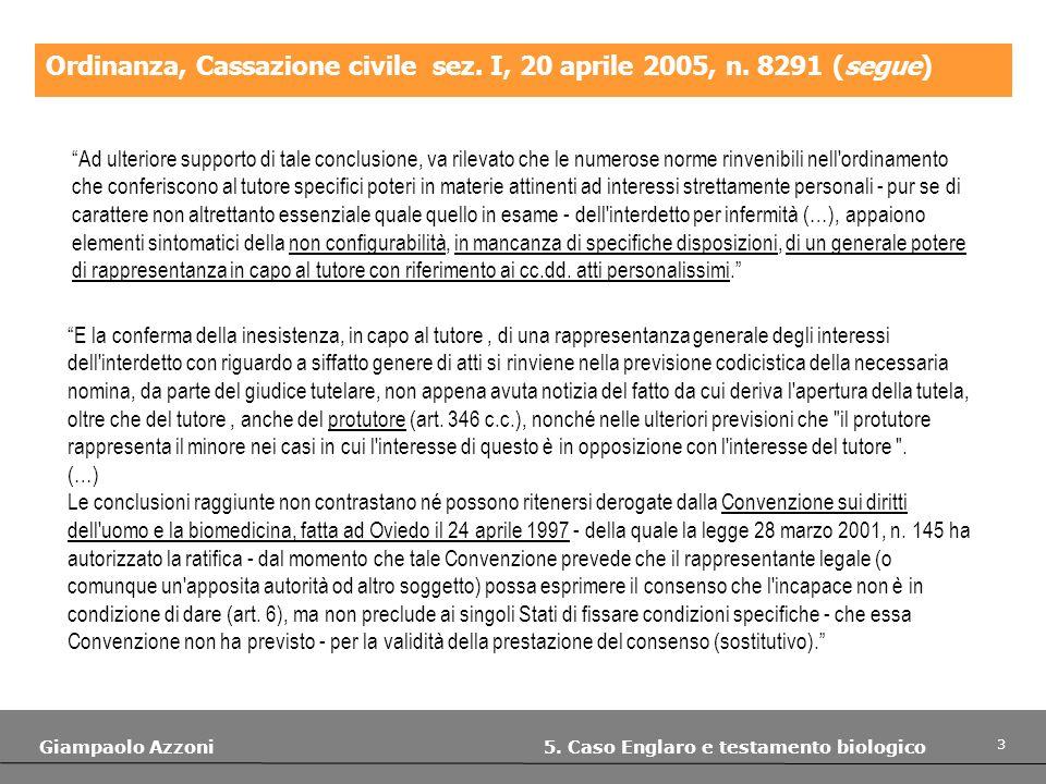 3 Giampaolo Azzoni 5. Caso Englaro e testamento biologico Ordinanza, Cassazione civile sez. I, 20 aprile 2005, n. 8291 (segue) Ad ulteriore supporto d