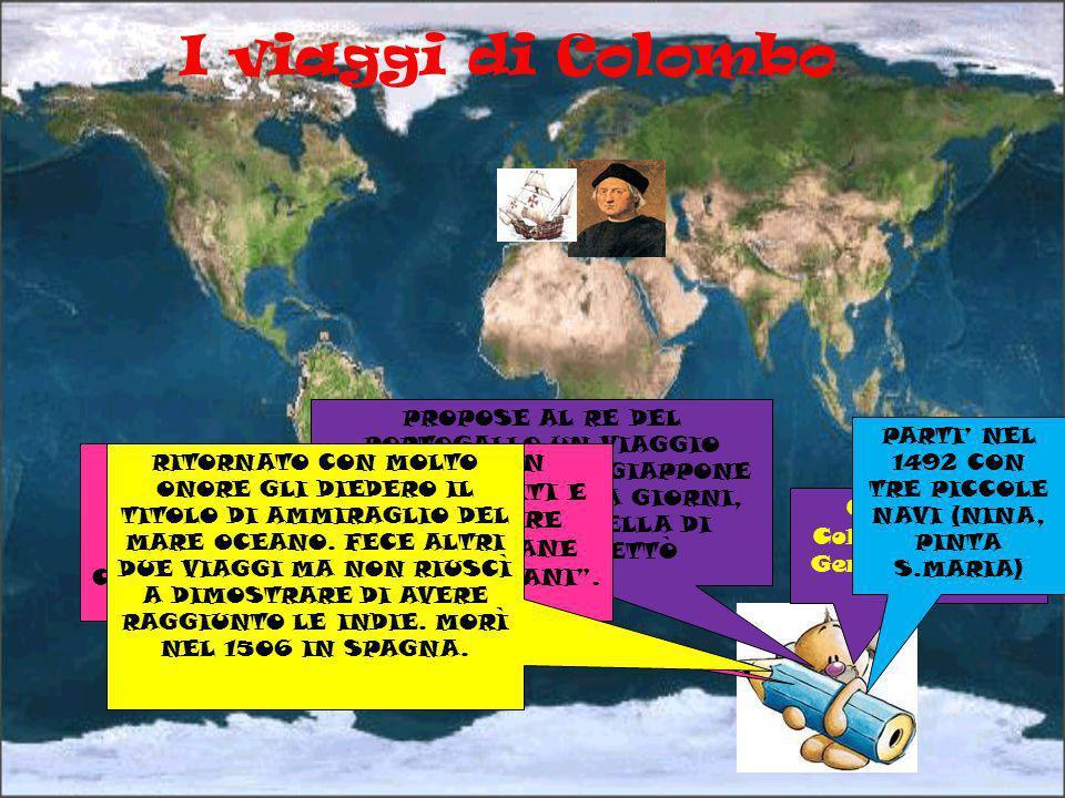 I viaggi di Colombo Cristoforo Colombo nasce a Genova nel 1451 PROPOSE AL RE DEL PORTOGALLO UN VIAGGIO DALLE CANARIE AL GIAPPONE IN MENO DI TRENTA GIO
