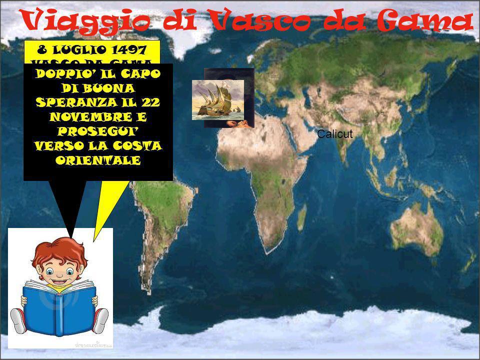 Viaggio di Vasco da Gama 8 LUGLIO 1497 VASCO DA GAMA PARTÌ PER RAGGIUNGERE IL CAPO DI BUONA SPERANZA E LE INDIE Calicut DOPPIO IL CAPO DI BUONA SPERAN