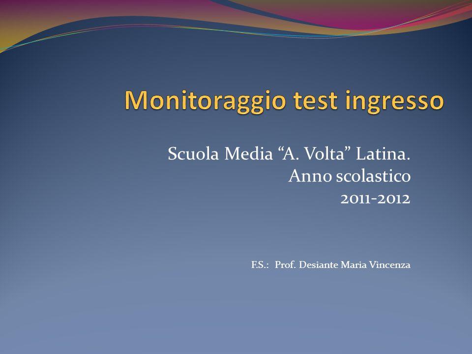 Scuola Media A. Volta Latina. Anno scolastico 2011-2012 F.S.: Prof. Desiante Maria Vincenza