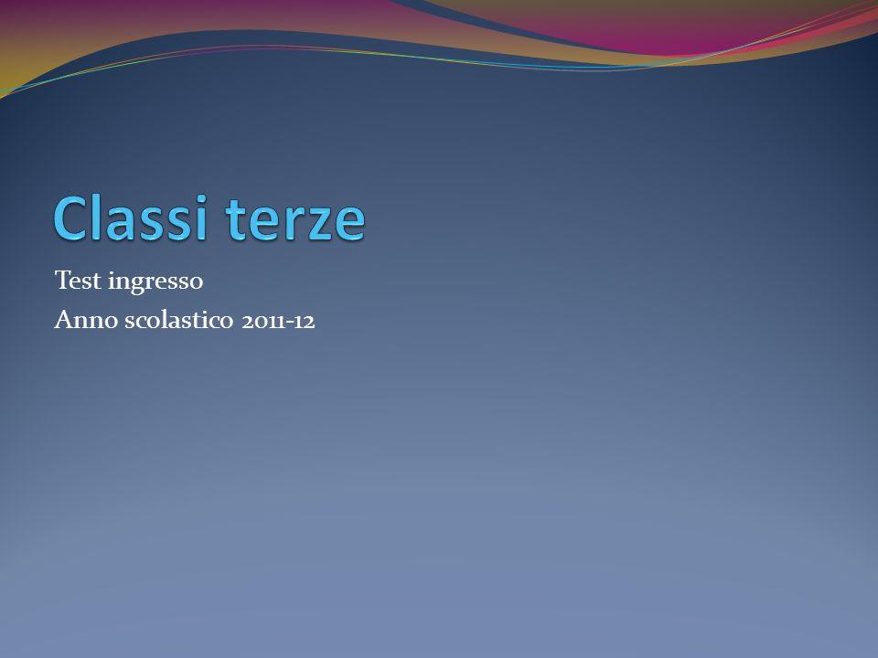 Test ingresso Anno scolastico 2011-12