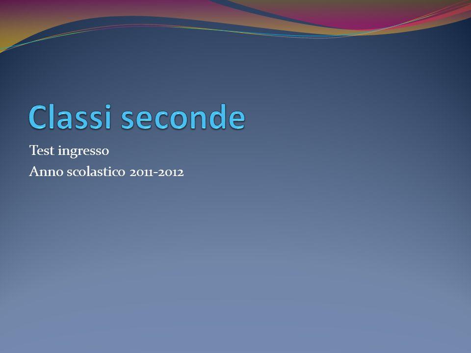 Test ingresso Anno scolastico 2011-2012