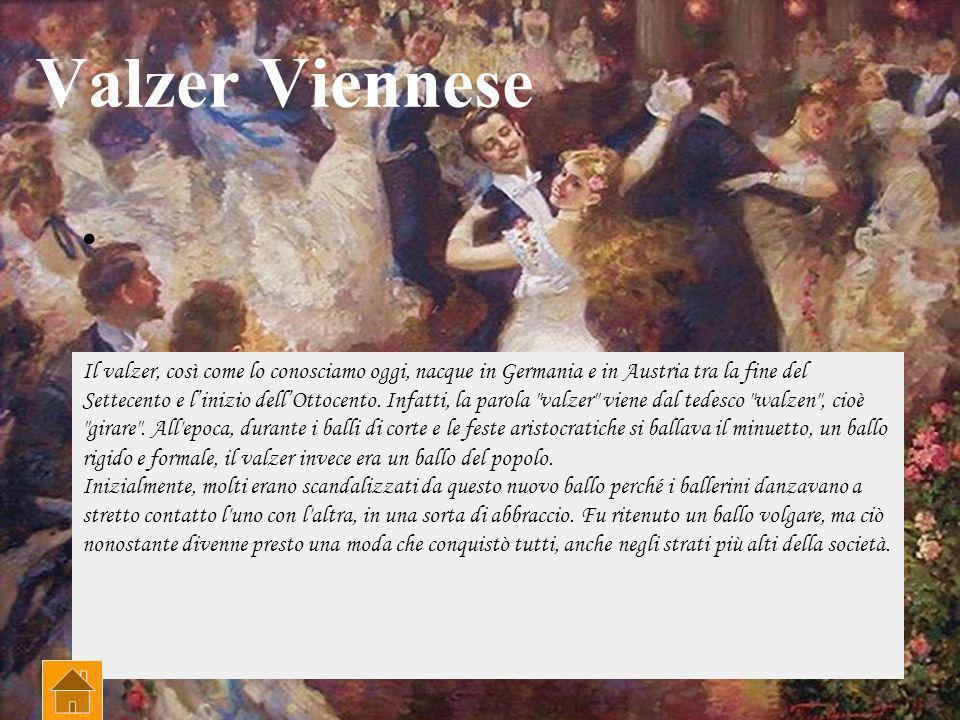 Valzer Viennese Il valzer, così come lo conosciamo oggi, nacque in Germania e in Austria tra la fine del Settecento e linizio dellOttocento.