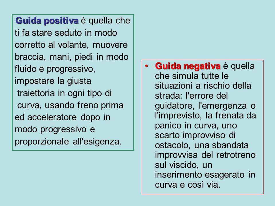 Guida positiva Guida positiva è quella che ti fa stare seduto in modo corretto al volante, muovere braccia, mani, piedi in modo fluido e progressivo,