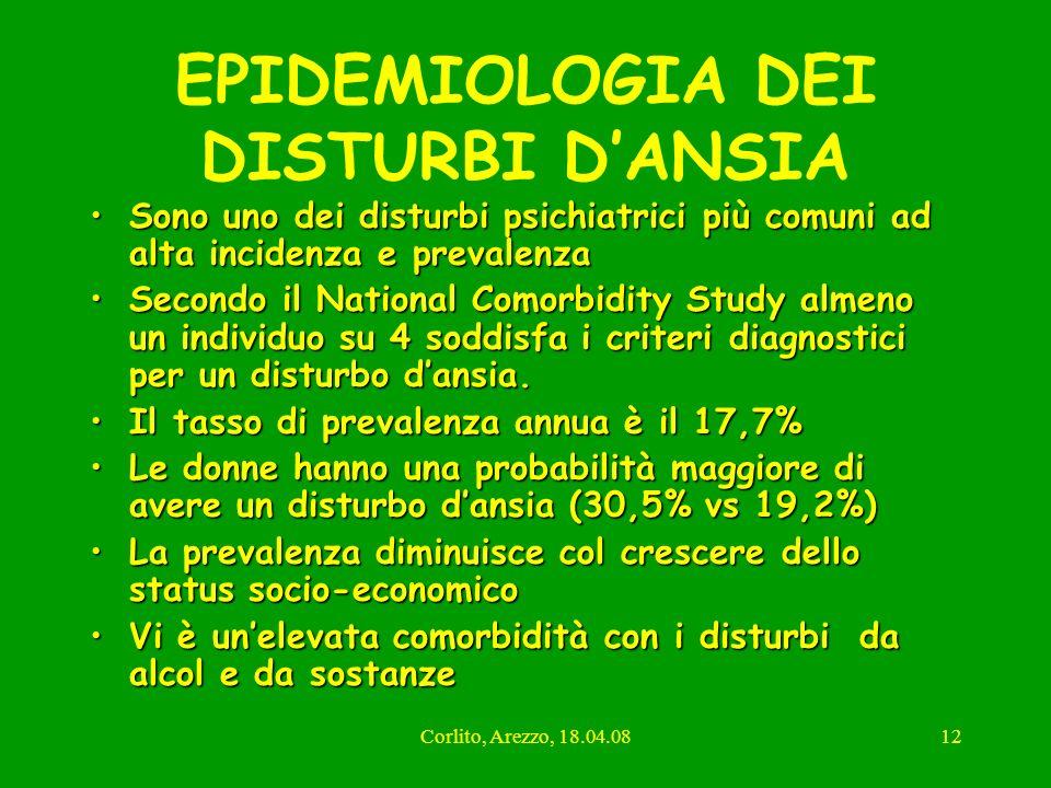 Corlito, Arezzo, 18.04.0812 EPIDEMIOLOGIA DEI DISTURBI DANSIA Sono uno dei disturbi psichiatrici più comuni ad alta incidenza e prevalenzaSono uno dei