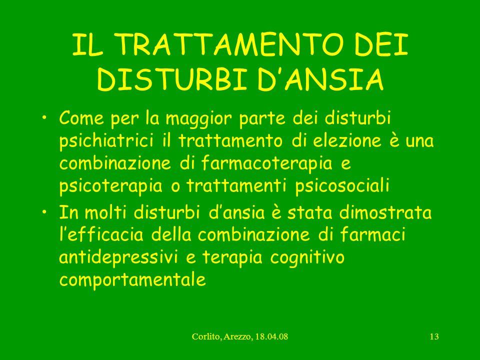 Corlito, Arezzo, 18.04.0813 IL TRATTAMENTO DEI DISTURBI DANSIA Come per la maggior parte dei disturbi psichiatrici il trattamento di elezione è una co