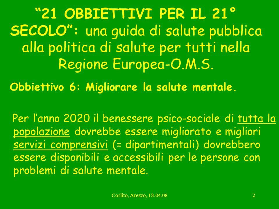 Corlito, Arezzo, 18.04.082 21 OBBIETTIVI PER IL 21° SECOLO: una guida di salute pubblica alla politica di salute per tutti nella Regione Europea-O.M.S