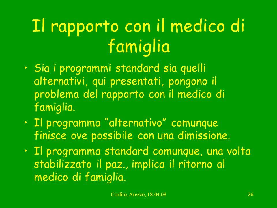 Corlito, Arezzo, 18.04.0826 Il rapporto con il medico di famiglia Sia i programmi standard sia quelli alternativi, qui presentati, pongono il problema