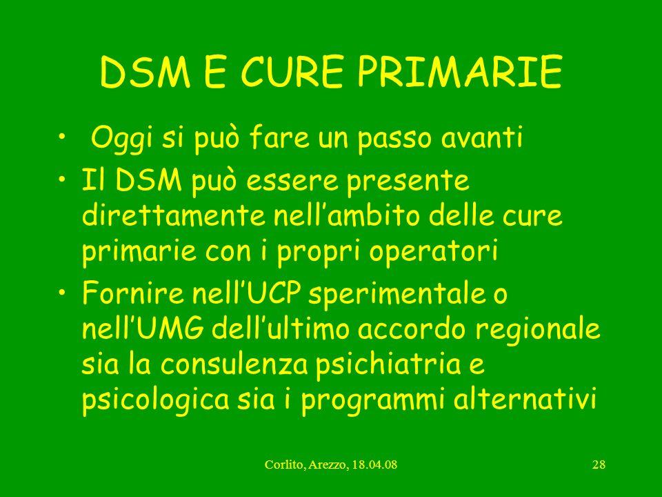Corlito, Arezzo, 18.04.0828 DSM E CURE PRIMARIE Oggi si può fare un passo avanti Il DSM può essere presente direttamente nellambito delle cure primari