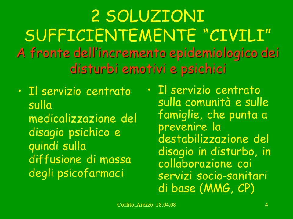 Corlito, Arezzo, 18.04.084 A fronte dellincremento epidemiologico dei disturbi emotivi e psichici 2 SOLUZIONI SUFFICIENTEMENTE CIVILI A fronte dellinc