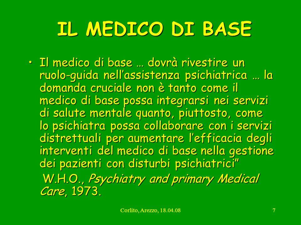 Corlito, Arezzo, 18.04.087 IL MEDICO DI BASE IL MEDICO DI BASE Il medico di base … dovrà rivestire un ruolo-guida nellassistenza psichiatrica … la dom