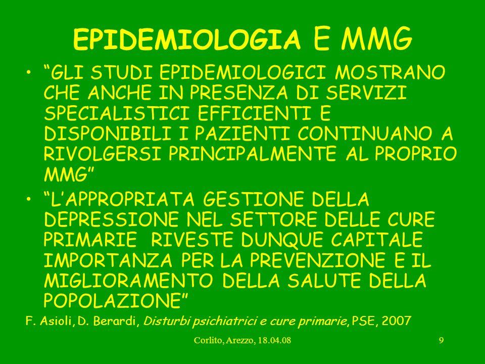 Corlito, Arezzo, 18.04.089 EPIDEMIOLOGIA E MMG GLI STUDI EPIDEMIOLOGICI MOSTRANO CHE ANCHE IN PRESENZA DI SERVIZI SPECIALISTICI EFFICIENTI E DISPONIBI