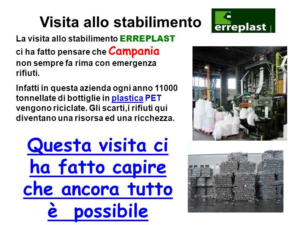Visita allo stabilimento La visita allo stabilimento ERREPLAST ci ha fatto pensare che Campania non sempre fa rima con emergenza rifiuti.