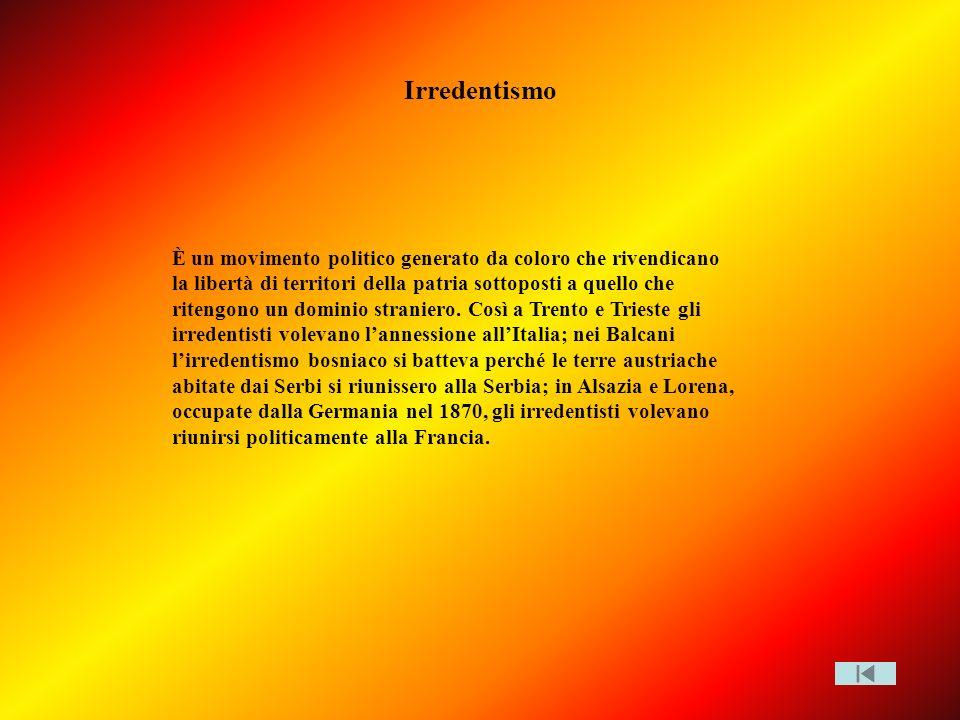 Irredentismo È un movimento politico generato da coloro che rivendicano la libertà di territori della patria sottoposti a quello che ritengono un domi