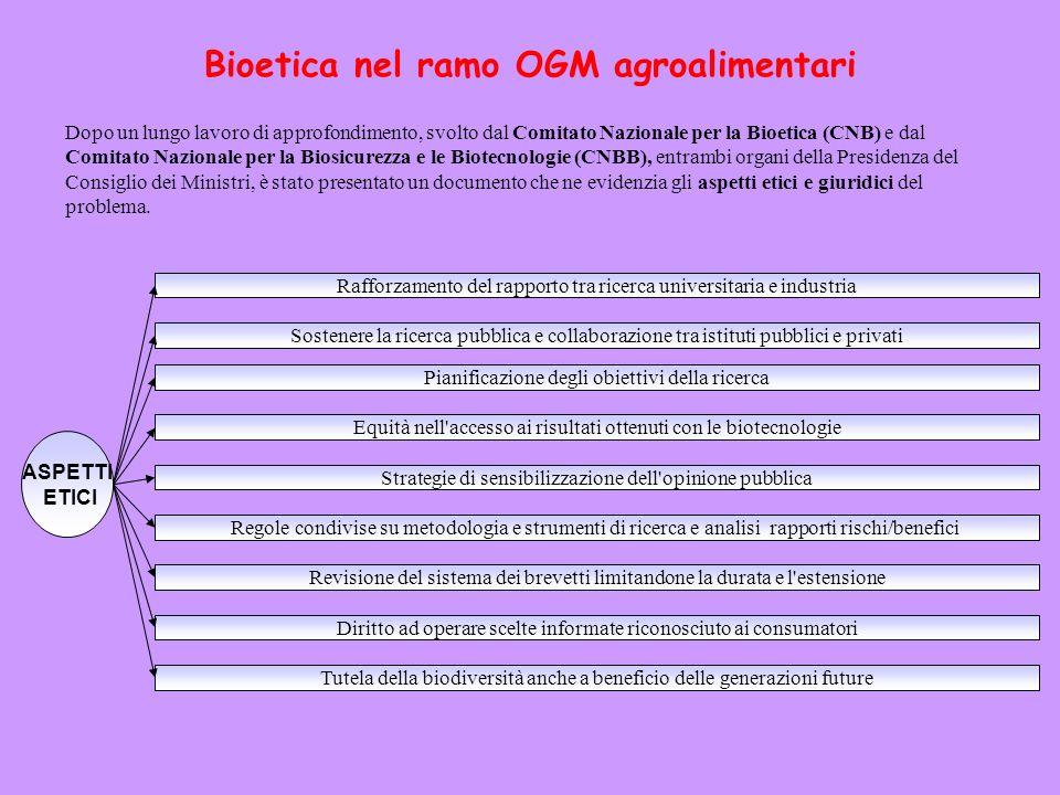 Bioetica nel ramo OGM agroalimentari Dopo un lungo lavoro di approfondimento, svolto dal Comitato Nazionale per la Bioetica (CNB) e dal Comitato Nazio