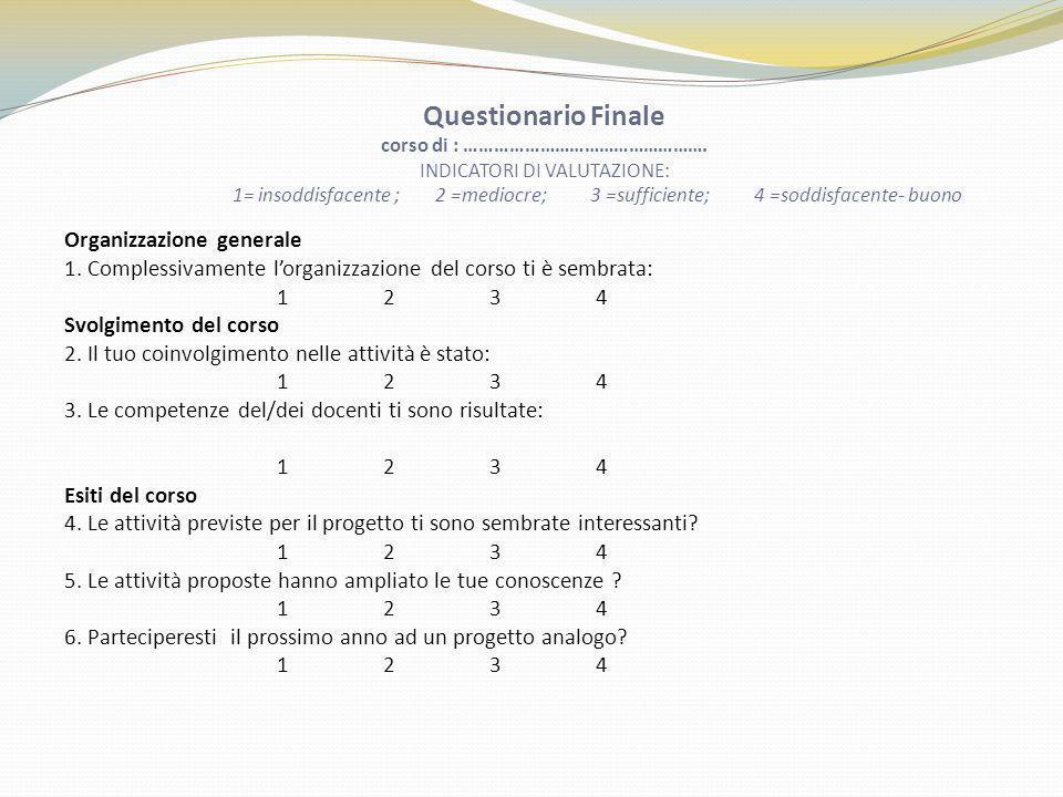 Questionario Finale corso di : …………………………………………. INDICATORI DI VALUTAZIONE: 1= insoddisfacente ; 2 =mediocre; 3 =sufficiente; 4 =soddisfacente- buono