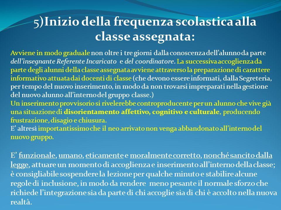 5)Inizio della frequenza scolastica alla classe assegnata: Avviene in modo graduale non oltre i tre giorni dalla conoscenza dellalunno da parte dellinsegnante Referente Incaricato e del coordinatore.