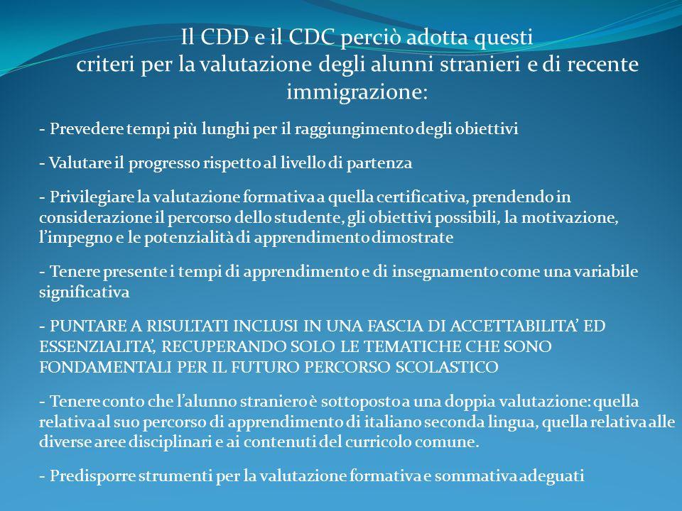 Il CDD e il CDC perciò adotta questi criteri per la valutazione degli alunni stranieri e di recente immigrazione: - Prevedere tempi più lunghi per il raggiungimento degli obiettivi - Valutare il progresso rispetto al livello di partenza - Privilegiare la valutazione formativa a quella certificativa, prendendo in considerazione il percorso dello studente, gli obiettivi possibili, la motivazione, limpegno e le potenzialità di apprendimento dimostrate - Tenere presente i tempi di apprendimento e di insegnamento come una variabile significativa - PUNTARE A RISULTATI INCLUSI IN UNA FASCIA DI ACCETTABILITA ED ESSENZIALITA, RECUPERANDO SOLO LE TEMATICHE CHE SONO FONDAMENTALI PER IL FUTURO PERCORSO SCOLASTICO - Tenere conto che lalunno straniero è sottoposto a una doppia valutazione: quella relativa al suo percorso di apprendimento di italiano seconda lingua, quella relativa alle diverse aree disciplinari e ai contenuti del curricolo comune.