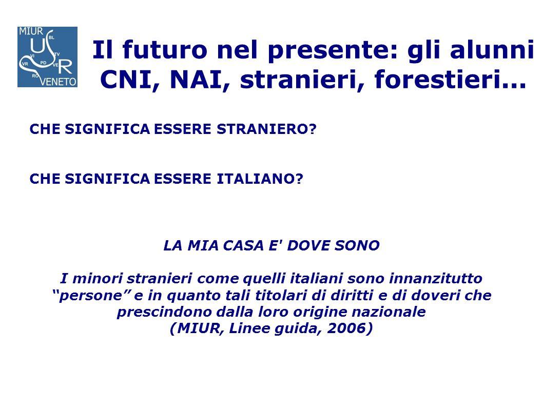 Il futuro nel presente: gli alunni CNI, NAI, stranieri, forestieri... CHE SIGNIFICA ESSERE STRANIERO? CHE SIGNIFICA ESSERE ITALIANO? LA MIA CASA E' DO