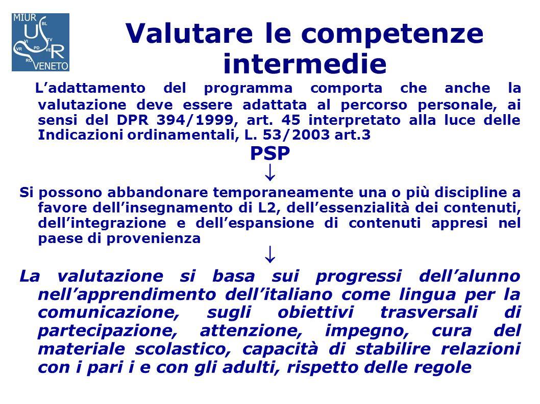 Valutare le competenze intermedie Ladattamento del programma comporta che anche la valutazione deve essere adattata al percorso personale, ai sensi de