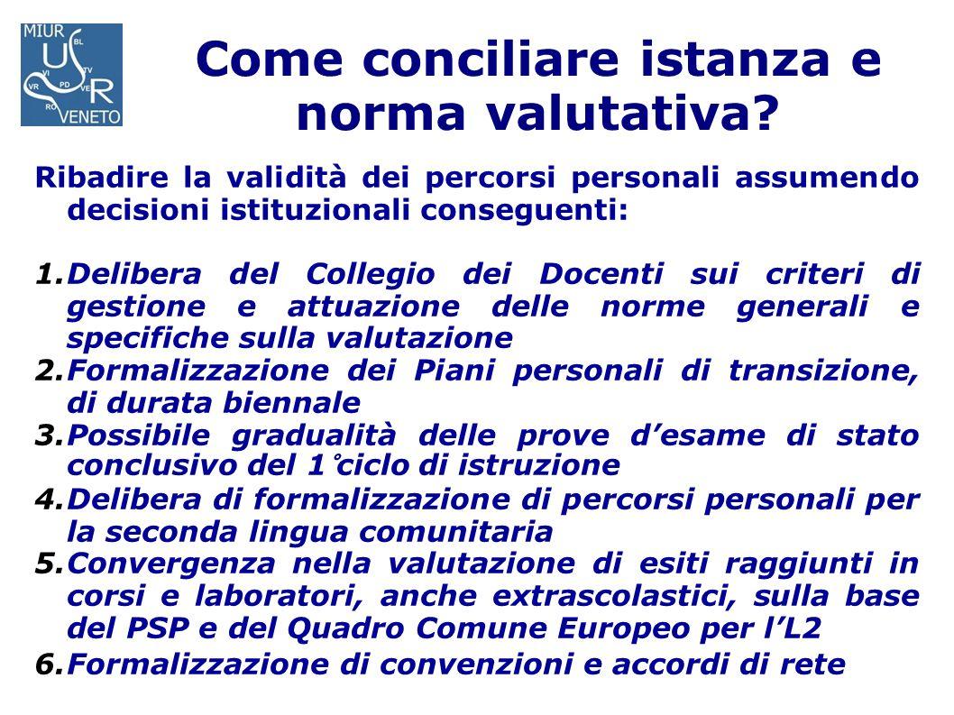 Come conciliare istanza e norma valutativa? Ribadire la validità dei percorsi personali assumendo decisioni istituzionali conseguenti: 1.Delibera del