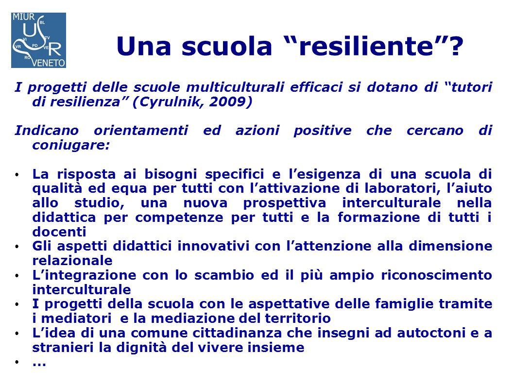 Una scuola resiliente? I progetti delle scuole multiculturali efficaci si dotano di tutori di resilienza (Cyrulnik, 2009) Indicano orientamenti ed azi